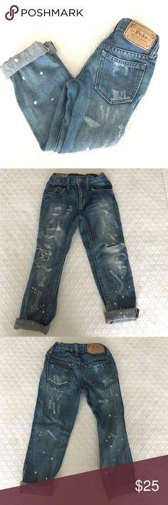 Ralph Lauren skinny boyfriend ripped jeans 4T Like new!! Ralph Lauren skinny boyfriend ripped jeans 4T Ralph Lauren Bottoms Jeans