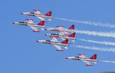 """The """"Turkish Stars"""" (Turk Yildizlari ) are the current Turkish Air Force aerobatic display team flying six NF-5A and two NF-5B aircraft. One of the NF-5As is a spare.The team's airplanes are painted in national white and red colors and also use the same color smoke generators.The ..."""