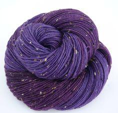 Hand dyed Yarn sock with Tweed  Superwash BFL with tweed - purple and plum