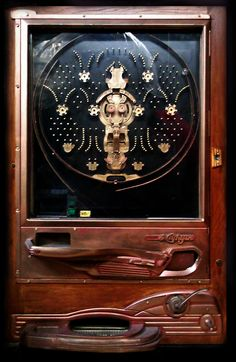 Vintage Pachinko Machine | #Pachinko gorgeous wood. maybe I can carve/burn a design into the casing on mine?
