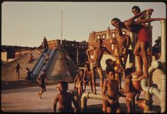 Danny Lyon  ::  Youngsters on the July 4th holiday at the Kosciusko Swimming Pool in Bedford-Stuyvesant, Brooklyn.