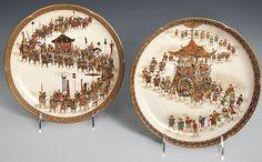Two Shallow Satsuma Plates - Shoko Takebe - Meiji Period