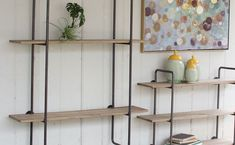 Three Tiered Metal Tube Frame Wall Shelf With Wooden Shelves, Industrial Shelf, Metal and Wood Wall Shelf, Wood Shelves With Metal Frame, Rustic, Farmhouse Decor, Large, Small, Wall Unit, Mounted Shelf, Floor Shelf, Three Tiered Metal Tube Frame Wall Shel