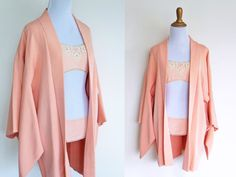 kerama kimono  vintage shell pink or light coral by HennyFaireCo