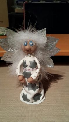 Handmade Angel sculpey clay Christmas tree topper