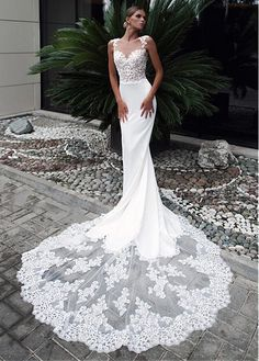 f21401648e1c Magbridal Fascinating Tulle   Acetate Satin Jewel Neckline Mermaid Wedding  Dress With Lace Appliques   Beadings. Abito ChicAbito Di ...