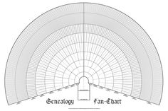 Fan chart with spaces to record your ancestry back ten generations. A great way to display your family tree. You begin with your name in the bottom box, your parents' names above it, then your grandpa