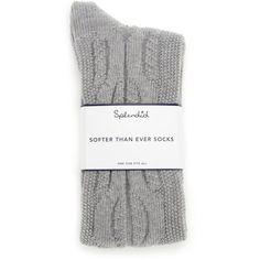 Splendid Cozy Sock (£16) ❤ liked on Polyvore featuring intimates, hosiery, socks, accessories, heather grey, cable socks, cable knit socks and knit socks