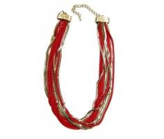 Red and Gold Chained String Necklace