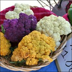 Cauliflower comes in so many beautiful colors! Here are a few recipes to do with them!