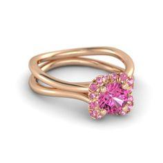Round Pink Sapphire 18K Rose Gold Ring with Pink Tourmaline | Brilliant Split Clover Ring | Gemvara