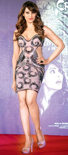 Bipasha Basu donned a taupe embellished dress with illusion panels at the music launch of 'Creature 3D'. #Bollywood #Fashion #Style #Beauty