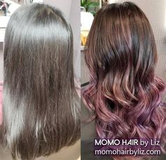 Cooool purple! Ombre Highlights, Hair Color Balayage, Best Hair Salon, Perms, Cool Hair Color, Brown And Grey, Pink Purple, Cool Hairstyles, Long Hair Styles