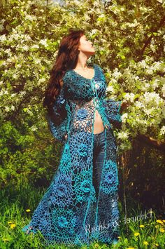 "Jacket Crochet Lace Roses Flowers Boho Gypsy A-line Long sleeves Wedding Bridal Turquoise Blue Teal ""Roses for Mermaid"". $1,250.00, via Etsy."
