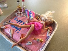 A drunk barbie cake for older girls great idea for 19th bday or 21st