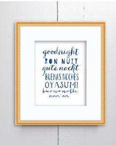 Goodnight Watercolor Print - SMc. Originals, watercolor painting, nursery decor, nursery art, language art, type art print, typography, art by SMcOriginals on Etsy https://www.etsy.com/listing/267072530/goodnight-watercolor-print-smc-originals