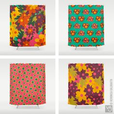 Veronica Galbraith • Surface Pattern Designer • Flowers For Lola • Shower Curtains