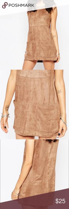 ASOS New Look Suedette Tunic Dress Tan Suede Dress with two front pockets✨ Brand New without tag ASOS Dresses Mini