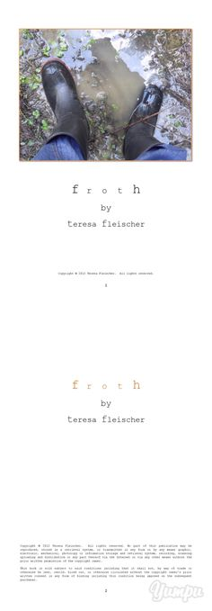 poetry - f r o t h, teresa fleischer - Magazine with 28 pages: A 28 page book of poetry compiled of 23 compositions that are less practical than they are real, yet they are not notions and dreams as much as they are sensuous.