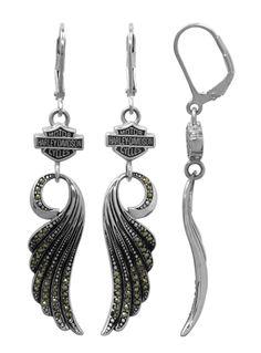 Harley-Davidson® Women's Marcasite Wing Dangle Earrings HDE0268