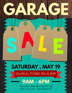 Rad Yard Sale Poster Flyer Social Media Post Template  Garage