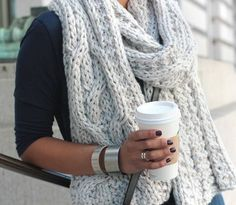 crocheted scarf, winter style, silver bracelets, girl style, cozy fashion, knit scarves, cup of coffee, big scarv, chunky knits