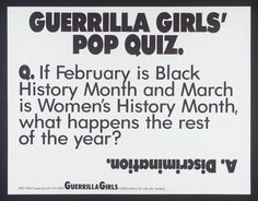 Guerrilla Girls, '[no title]' for Activism.Guerrilla Girls are important female artists using their art to fight for female artists and women in general. Photomontage, Women In History, Art History, Guerrilla Girls, Protest Art, Political Art, Political Memes, Feminist Art, Patriarchy