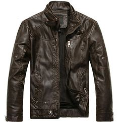 """HOT PRICES FROM ALI - Buy """"Leather Jacket Men Motorcycle Jackets jaqueta de couro masculina motoqueiro casaco male leather bomber jacket Mens veste homme"""" for only USD. Mens Leather Coats, Winter Leather Jackets, Men's Leather Jacket, Men Coat, Suede Jacket, Winter Jackets, Leather Collar, Suede Suit, Pu Jacket"""
