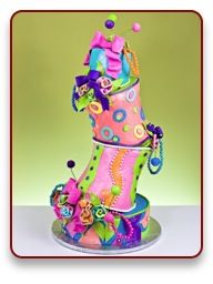 crazy wedding cake-I would interpret into a beautiful centre piece in the centre of small intimate circular tables