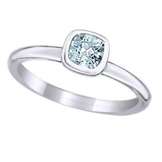 Sterling Silver Stackable Ring Cushion Cut March Aquamarine Stone, Qsk448 by JewelryHub on Opensky