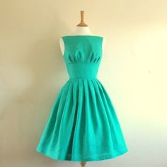 Turquoise Linen Tiffany Dress