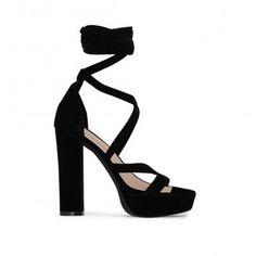 Criss Cross Platform Heels Black