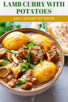 Aloo gosht or lamb curry with potatoes is so easy to make in the instant pot. Slightly spicy, warming and finger-licking delicious! You can make it with mutton or goat meat as well. Lamb Recipes, Curry Recipes, Meat Recipes, Cooker Recipes, Indian Food Recipes, Recipies, Korma, Garam Masala, Naan
