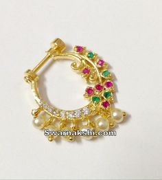 cz nose ring collection - Swarnakshi Jewels And Accessories Gold Ring Designs, Gold Bangles Design, Gold Earrings Designs, Gold Jewellery Design, Necklace Designs, Nose Ring Jewelry, Gold Nose Rings, Royal Jewelry, Pearl Jewelry