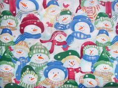 Christmas Multi Colored Snowmen 100% Cotton Quilting Fabric by the yard #Unbranded