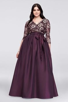 A regal look for the mother of the bride or groom, this plus-size ball gown shimmers with a gilded floral lace bodice and a lustrous shantung skirt. By Jessica Howard Nylon, rayon, spandex Formal Dresses With Sleeves, Plus Size Formal Dresses, Lace Wedding Dress With Sleeves, Plus Size Gowns, Gowns With Sleeves, Plus Size Outfits, Evening Dresses Plus Size, Lace Sleeves, Chubby