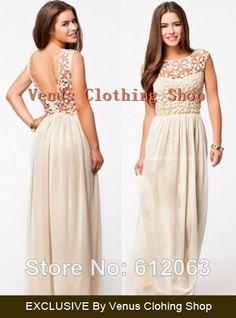 2014 Summer hot Sale women's Sleeveless white  Crochet Top Chiffon Sexy Maxi Dress XS-XXXXL $22.78