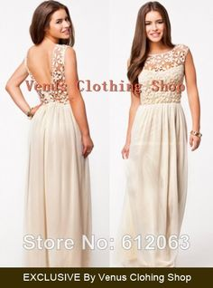 2014 Summer hot Sale women's Sleeveless white  Crochet Top Chiffon Sexy Maxi Dress XS-XXXXL $22.78