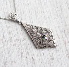 Antique Order of Eastern Star Filigree Pendant Necklace - 1930s Art Deco Vintage Silver Tone Masonic Jewelry / Freemason