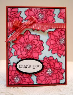 Stampin' Up! Peaceful Petals handmade thank you card