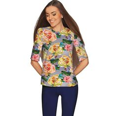 Stylish, dressy, graceful, elegant... these words perfectly describe our beloved Sophia elbow sleeve floral top. It is made from the highest quality, eco-friendly fabric with stretch for ease of movement. This gorgeously printed top will look very impressive on date night or at a party. Its t-shirt silhouette flatters all body types.  THE EXCLUSIVE PLACEMENT OF THE PRINT HIGHLIGHTS THE ORIGINALITY OF THE DESIGN  Prices are inclusive of all taxes. FREE US SHIPPING  Designed and sewn by hand…