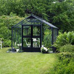 """Serre verre """"Premium"""" - Gris anthracite - 13 m² - 4,39 x 2,96 x 2,67 m."""