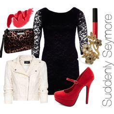 Audrey - Little Shop of Horrors  (defygravityxx.tumblr.com)AX Paris three quarter sleeve lace dress, £38Mango zip jacket, £45Charlotte Russe mary jane platform pumps, $33Betsey Johnson cheetah bag, $48Floral jewelry, $13