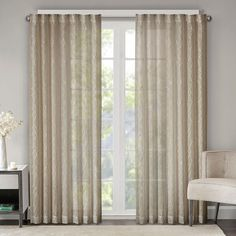 Madison Park Etelle Fret Embroidered Sheer Curtain, Natural