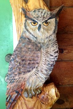 Great Horned Owl perched in Tree 56 chainsaw by oceanarts10