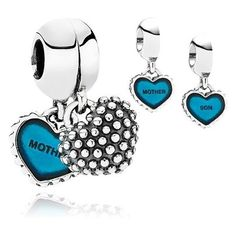 Pandora Silver Mother and Son Heart Blue Enamel Charm 791152EN08 80371