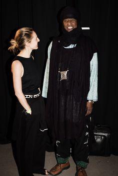 EDUN   SS15   Backstage   Danielle Sherman and Moussa Albaka