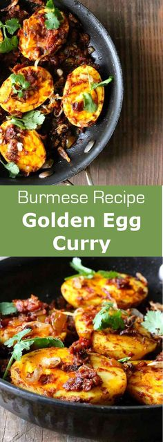 Golden egg curry is a delicious Burmese recipe consisting of blistered hard-boiled eggs combined with a tomato-based aromatic sauce. #burma #myanmar #burmese #196flavors