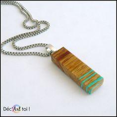 Pendentif rectangle en bois exotique peint à la main  par DecArttoi, $23.00