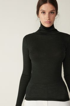 Turtleneck Outfit, Lingerie Collection, Nightwear, T Shirt, Turtle Neck, Wool, Long Sleeve, Sweaters, Stuff To Buy